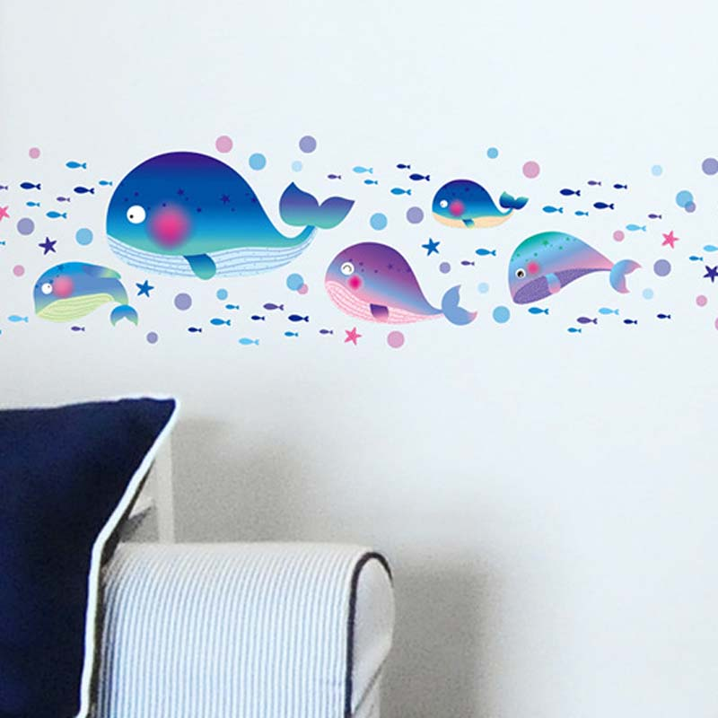 Remove Wall Bathroom Toilet Children Room One Cartoon Fish Waterproof Walls  Painted A Whale Wall Stickers For Kids Rooms In Wall Stickers From Home U0026  Garden ...