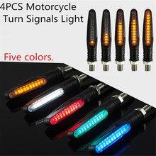 4 шт. мотоциклетные указатели поворота 12 * 335SMD задний мигалка светодиодный мигалка воды IP68 гибкие мигающие огни для мотоцикла