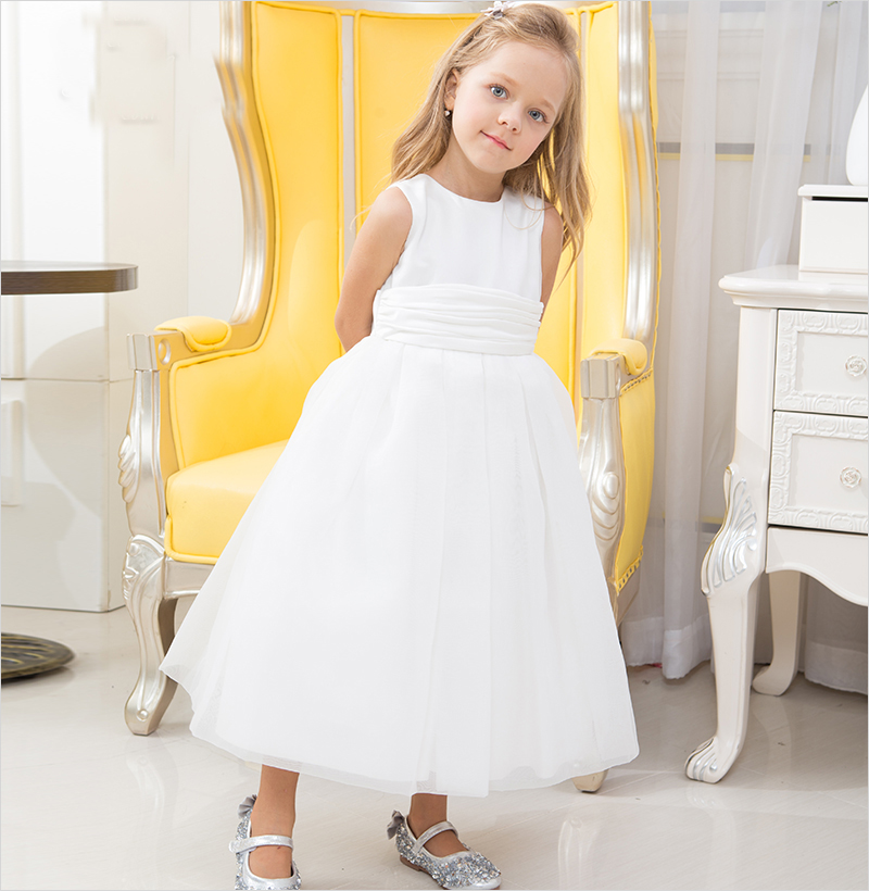 Write Flower Girl Dresses For Wedding Bow Belt Tulle  Children First Communion Dresses Pageant Gown for Mother Daughter Dresses