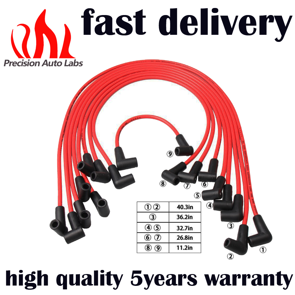 PRECISION AUTO LABS 7mm Red IGW1060 Spark Plug Wires/Powercable for 1988-1995 Chevy G MC Truck 5.0/5.7L 718D Ignition wire set