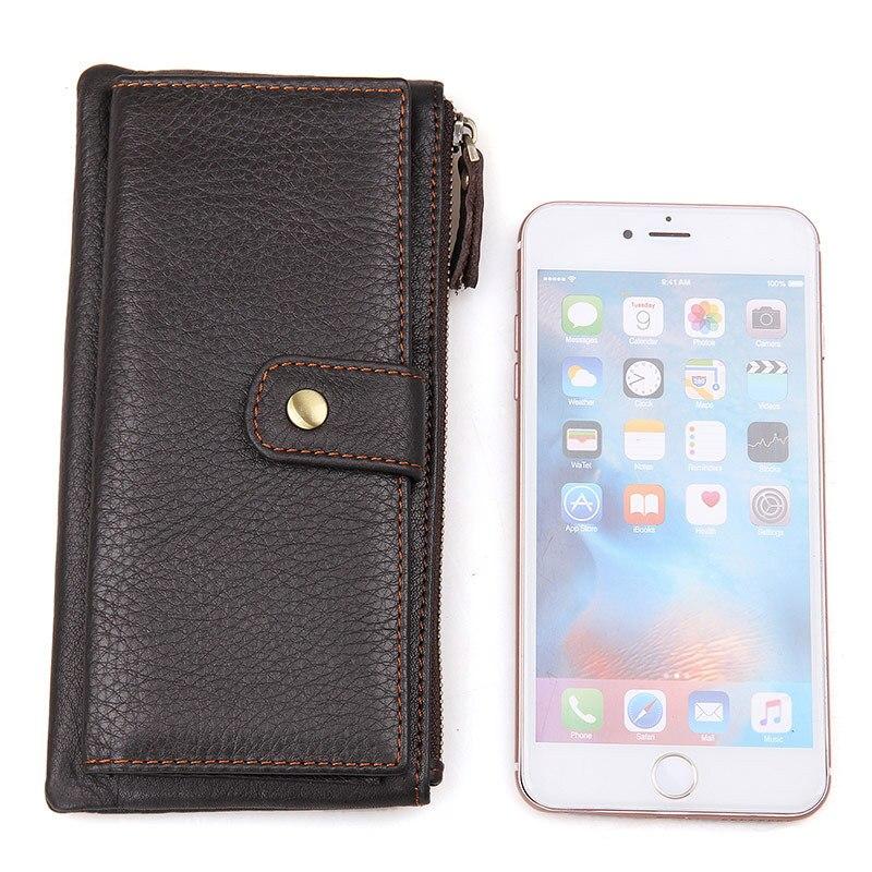 Genuine Cowhide Leather Long Travel Wallet Vintage Designer Solid Wallets With Hasp