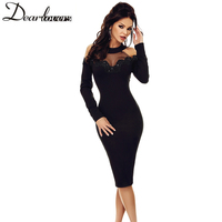 Dear Lover Midi Dress Elegant Black Long Sleeve Bodycon Dress 2018 Spring Cold Shoulder Hollow Out