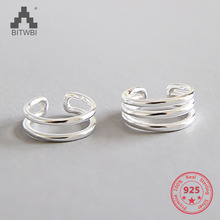 2019 Hot Sale 100% 925 Sterling Silver Earrings Fashion Simple CHIC Jewelry Three Layers Ear Stud