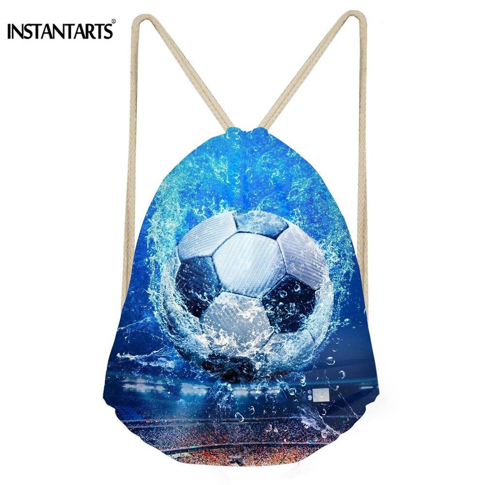 INSTANTARTS 3D Ball Print Women Men Mini Backpack Casual Portable Drawstring Bags Soccerly Basket Ball Light