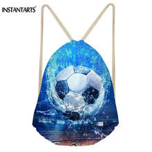 INSTANTARTS 3D Ball Print Women Men Mini Backpack Casual Portable Drawstring Bags Soccerly Basket Ball Light Schoolbag Satchel