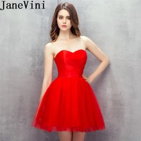 JaneVini Simple Short Red Tulle Homecoming Dress Juniors Sleeveless Mini Graduation 2019 Charms Pleat Satin Party Gowns Prom