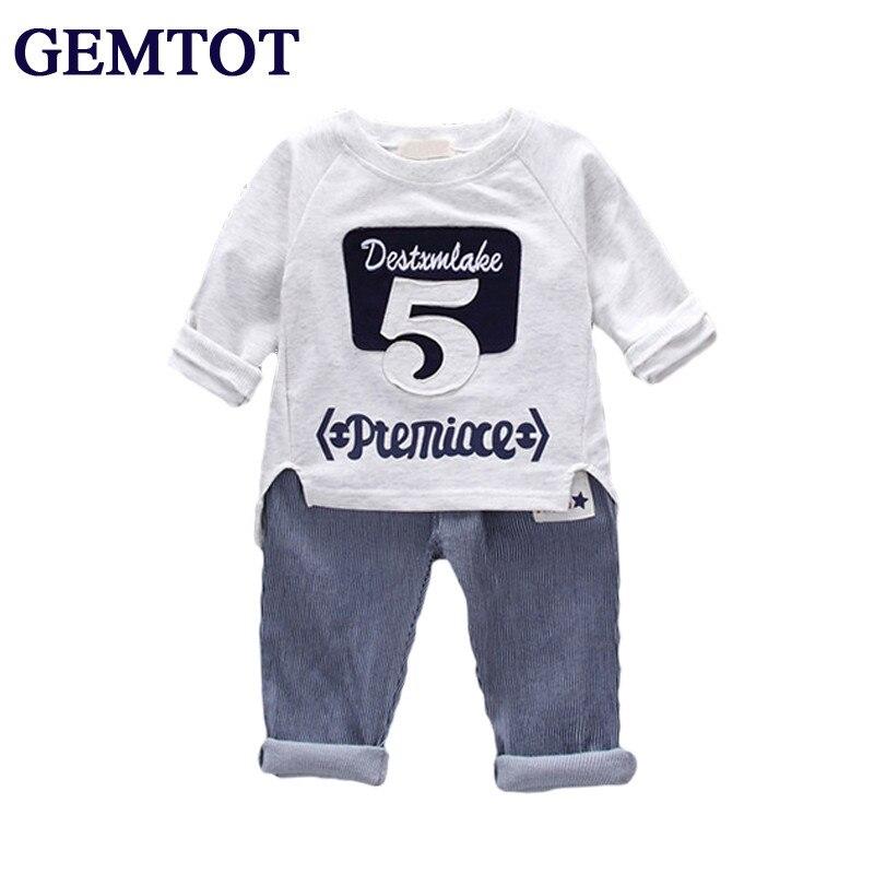 GEMTOT Hot sale 2017 Children clothing sets Baby boys girls t shirts+shorts pants+belt 3pcs sports suit kids clothes 0-7Yrs