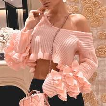 Charming Ruffle crop pink sweater women Striped solid fashion ladies pullover tops Streetwear elegant female long sleeve jumpers(China)