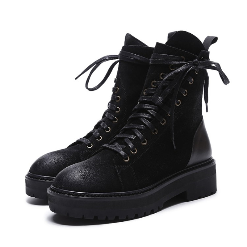Black Cross-tied PLatform Ankle Women Motorcycle Boots Martain Shoes Round Toe Western Style Zip Tilted Lace Up Botas Femeninas ankle black solid cross tied winter martain boots zipper design suede british style botas femeninas walkway casual shoes women