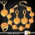 U7 dubai banhado a ouro conjuntos de jóias para as mulheres banhado a ouro flor traje africano conjunto de jóias de casamento para noivas s695