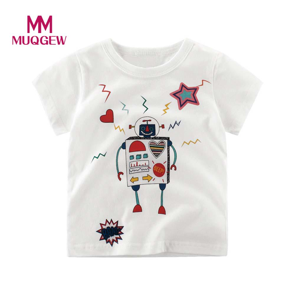 Muqgew T Shirt Toddler Children Cartoon Boys Robot Heart