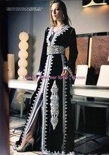 Kaftan Caftan Dubai Evening Dresses Fancy Arab Abaya Black Embroidered Appliques A-Line Islamic Style Formal Long Women Gown U12