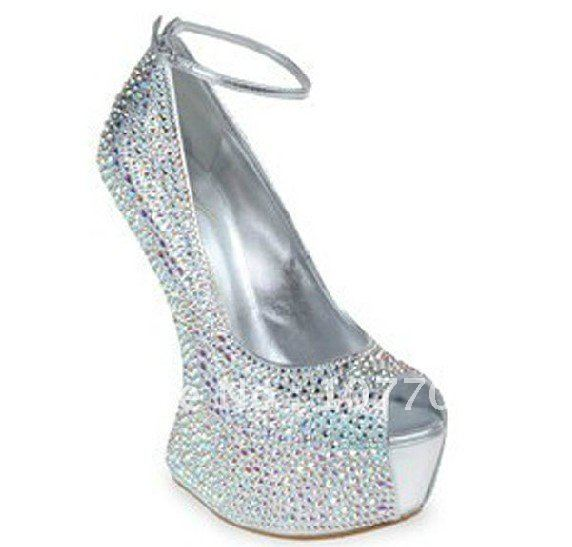 No Heel Wedding Shoes: 2012 No Heels Pumps Crystal Wedding Shoes Sexy High Heel