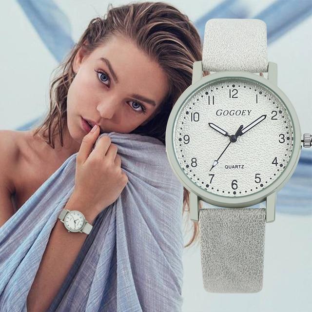 Women's Watches Gogoey Brand Fashion Leather Wrist Watch Women Watches Ladies Wa