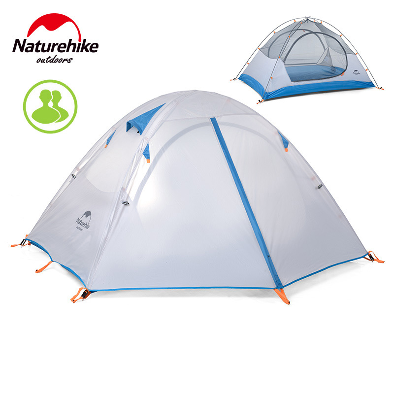 Naturehike 2-3 Person Aluminum Pole Ultralight Camping tent NH hiking travel tent Waterproof outdoor Double Layer tents naturehike 3 person camping tent 20d 210t fabric waterproof double layer one bedroom 3 season aluminum rod outdoor camp tent