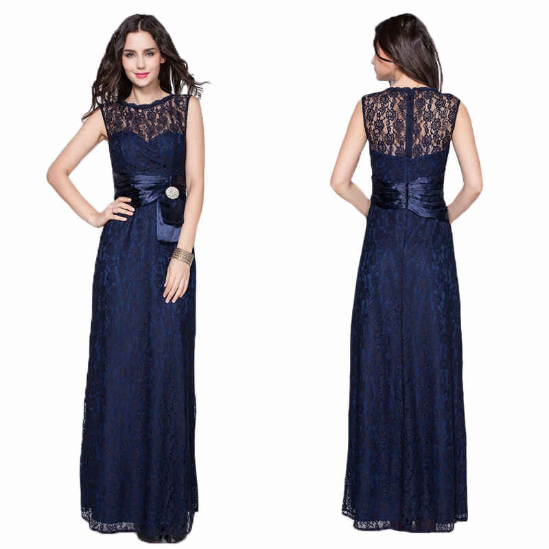 Navy Blue Lace Formal Party   Dress   Sleeveless Sexy Elegant Long A Line   Evening     Dresses   Vestido De Festa Hollow Out Prom Gowns