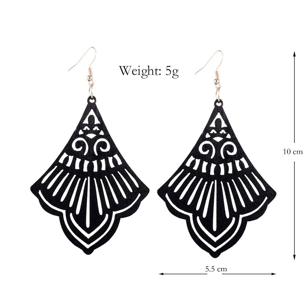 YULUCH 2019 Vintage African Women Brown Black Wooden Bell Pendant Earrings Indian Long Statement Earrings Jewelry For Lady Party