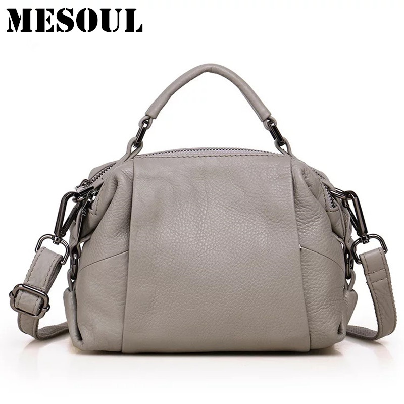 MESOUL Brand Casual Boston Bag Summer Women Messenger Bags Genuine Leather Tote Woman Handbags High Quality
