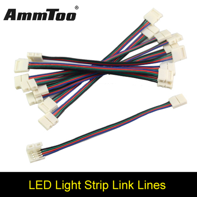 4pin rgb female led strip double connector clip cable led tape extension  wire for 3528 5050 rgb led strip ribbon tape