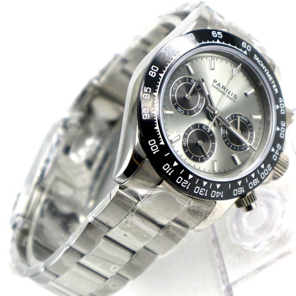 39mm PARNIS cadran gris saphir cristal solide chronographe quartz montre hommes de luxe pilote saphir cristal montre bracelet hommes-in Montres à quartz from Montres    1