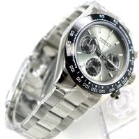39mm PARNIS gray dial sapphire crystal solid full Chronograph quartz mens watch Luxury Pilot Sapphire Crystal Wrist Watch men