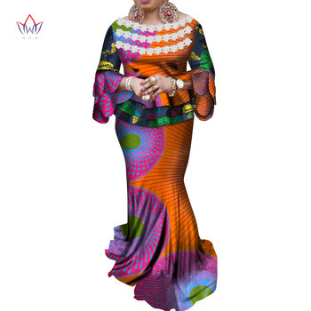 African Women Crop Skirt Top Plus Size Dashiki 2 Piece Set African Clothes for Women Cotton Print Wax Suit for party WY4578