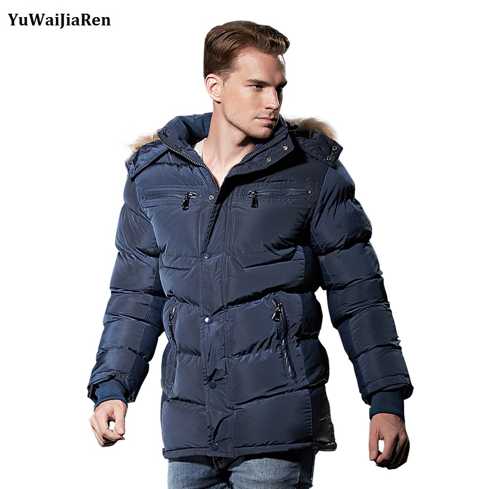 YuWaiJiaRen Brand Winter Men Casual Parkas Hooded Cotton Thick Long Warm Mens Jackets Male Warm Coat Men Bomber Jacket Outwear parka mens winter jacket long sleeve warm men coats cotton slim hooded outwear coat casual male padded jackets clothing