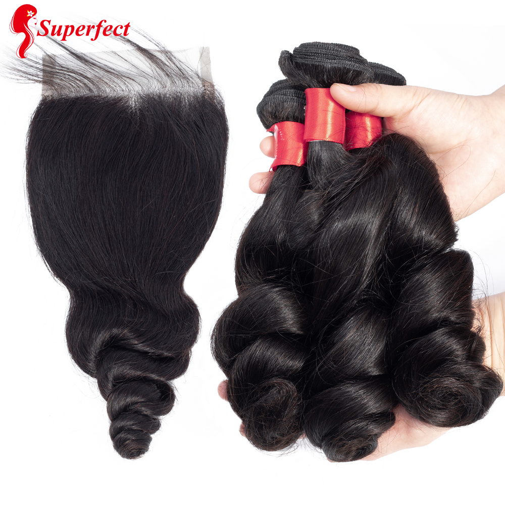 Superfect Brazilian Loose Wave Bundles With Closure Natural Color Human Hair Bundles With Closure Remy Hair