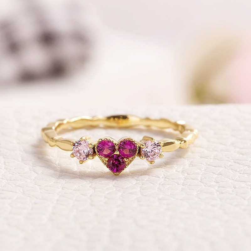 Huitan Trendy Simple Golden Inifinite Heart Shaped Love Engagement RIngs For Women Romantic Gadget Pinky Rings For Girl New