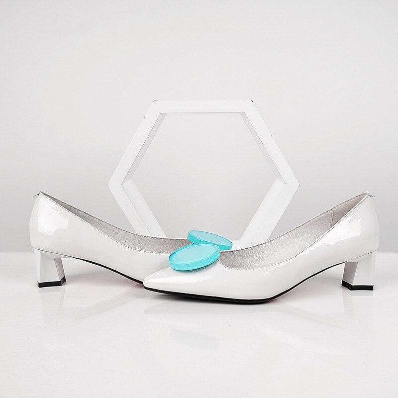 Zapatos Delle A Quadrato Giallo bianco Superficiale Tallone Punta Mujer Di Blu Med Donne Partito Msstor colore Tacco 2019 Modo Pompe Vestito Pattini Sexy Casual pPStWTxqw
