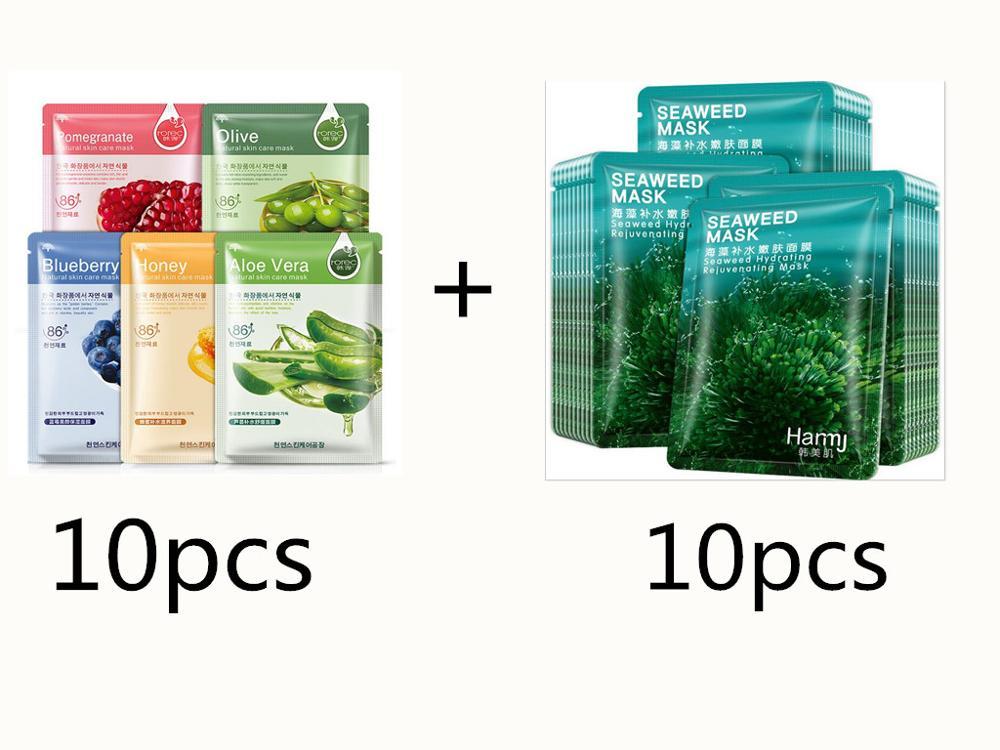 20pcs Hot Selling Sheet Mask Snail Seaweed Essence Dope Korea Skin Care Face Mask Combo Plant Extract Aloe Vera Olives Honey