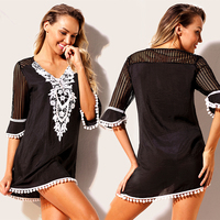 Half Sleeves Cover Up Floral Keyout Embroidery V Neck Bathing Suit Summer Beach Wear 2018 Crochet