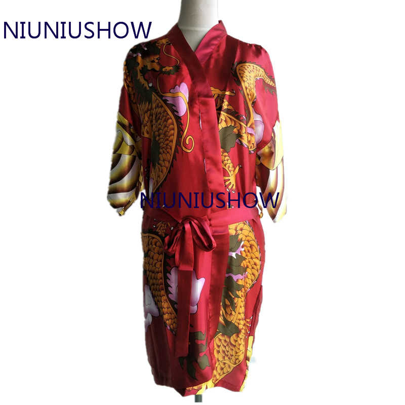 Hot Bán Màu Xanh Lá Cây của Phụ Nữ ngủ Tắm lụa áo Sexy Đồ Lót Sọc Rồng Quần Áo Ngủ Kimono Áo Choàng Satin Áo Choàng Tắm