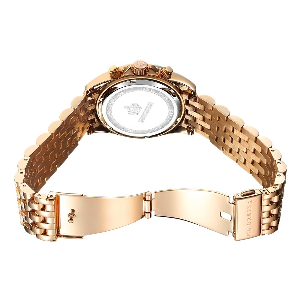 Image 3 - ORKINA Quartz Male Clock Luxury Crystal Wrist Watch Men Rose Gold  Stainless Steel 3ATM Water Resistant Herren ArmbanduhrQuartz Watches
