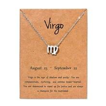 Novo virgo taurus peixes cartão de mensagem jóias 12 constellation pingente colar corrente colares para presente aniversário feminino
