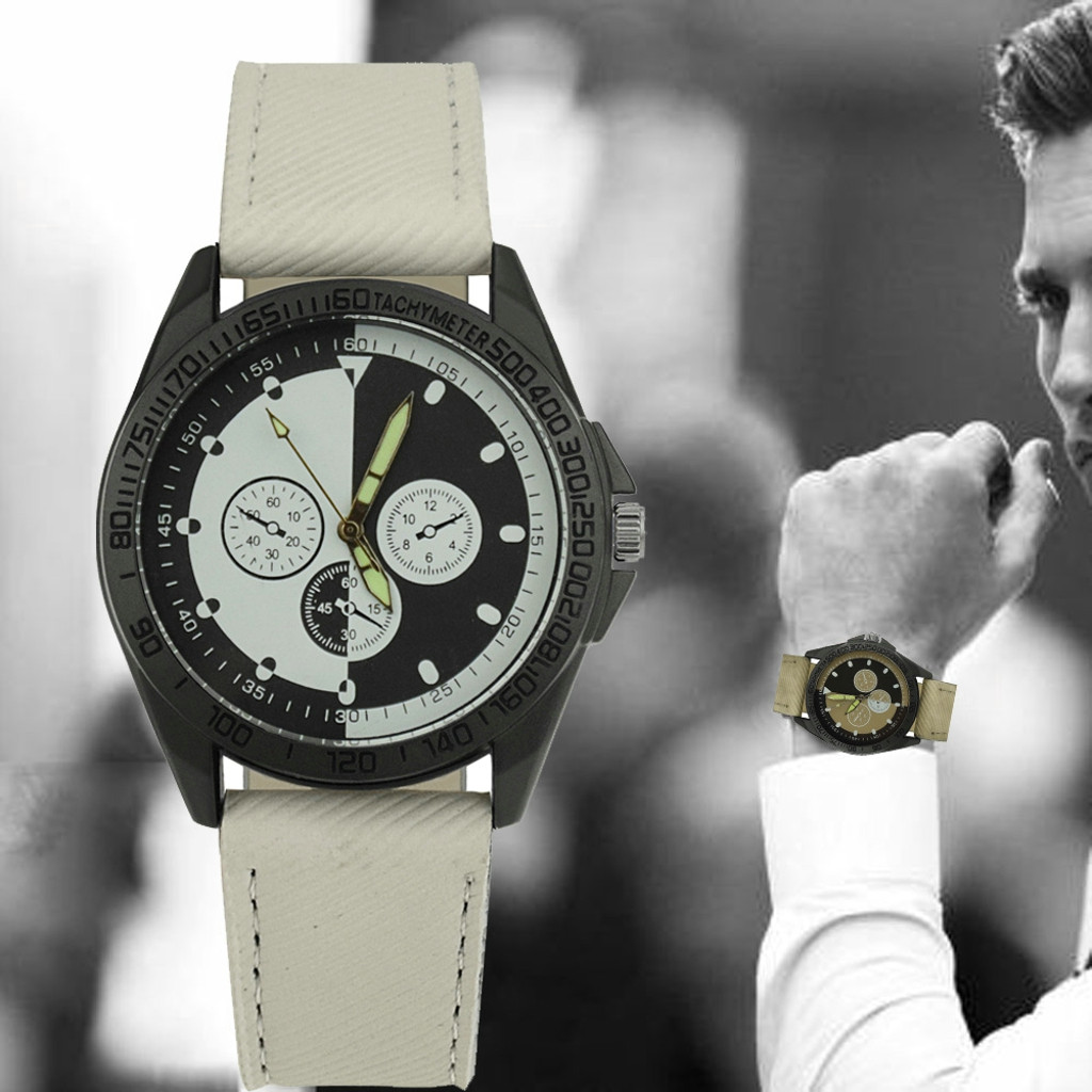 Mens Sport Wristwatches Leather Casual Quartz Watches for Boys Round Analog Alloy Quartz Watch Orologio Uomo 3.28