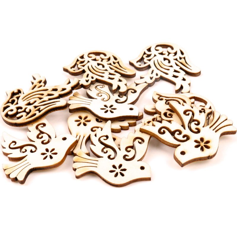 31x33mm 20pcs Mix Wooden Bird Pattern Scrapbooking Art Collection Craft For Handmade Accessory Sewing Home Decoration
