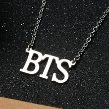 ФОТО korean fashion kpop bts necklace bangtan boys letter stainless steel pendant necklace friend gift collection