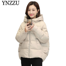 YNZZU 2019 Hooded oversize Womens Thick Warm Parkas Winter Solid High quality Female Parka Long sleeve loose short Jacket YO861