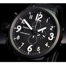 50mm PARNIS Black Dial PVD coated  Chronograph Leather strap Quartz Movement men's Wristwatch все цены