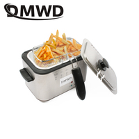 DMWD 1.2L Stainless Steel Single Tank Electric Deep Fryer Smokeless French Fries Chicken Frying Pot Grill Mini Hotpot Oven EU US