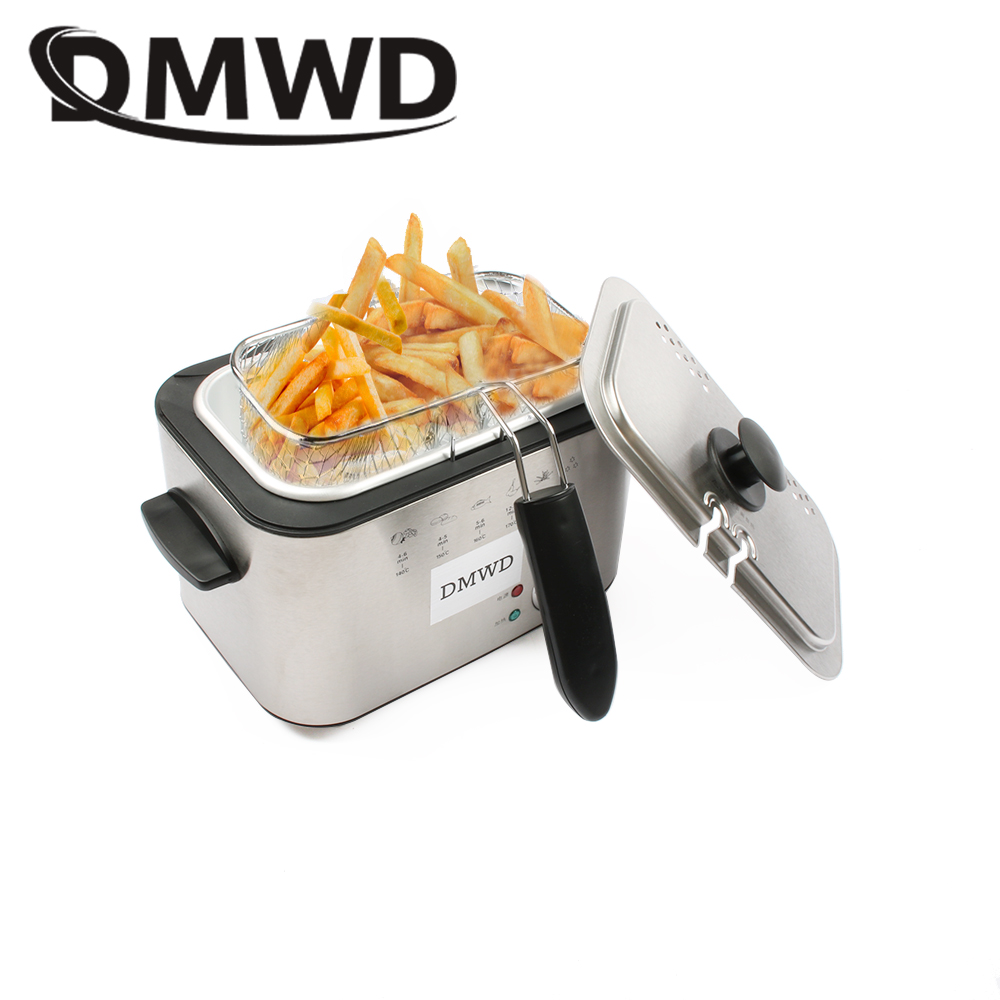 DMWD 1.2L Stainless Steel Single tank Electric deep fryer smokeless French Fries Chicken grill multifunction MINI hotpot oven EU цена и фото