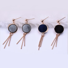 E637 2017 new Pearl velvet ball geometric block triangle long tassel earrings with nails Fashion Wedding Jewelry Party