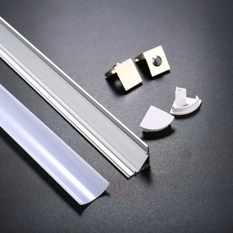 0 5m 1m corner led aluminum profile for 5050 5630 led rigid bar light channel aluminum extrusion with cover extend connector in LED Strips from Lights Lighting