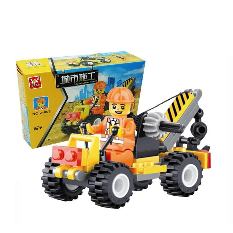 Urban Construction Small Crane Child Educational Toys Building Block Sets 52pcs City Jigsaw DIY Bricks Toys Brinquedos Kids Gift