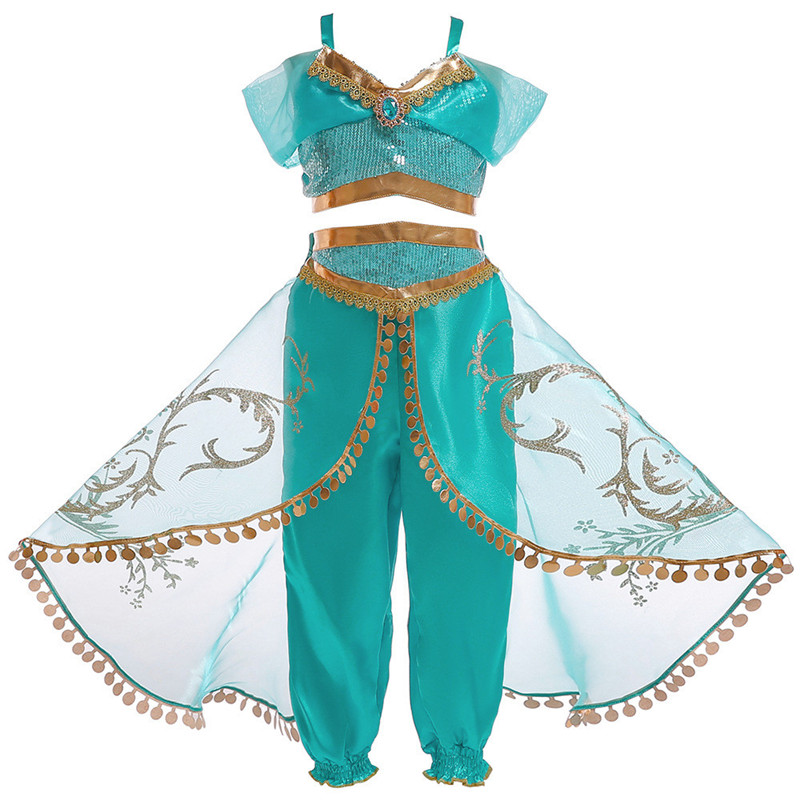 Grils fashion cosplay sexy Aladdin magic lamp princess clothing sets children's sequined top + culottes 2 pcs suit clothes