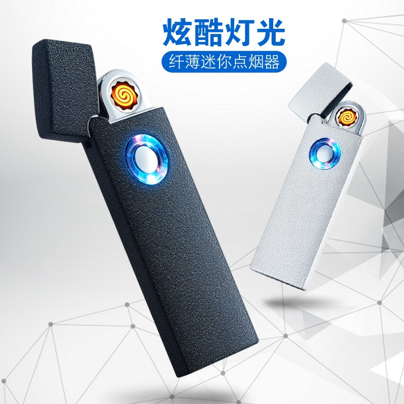 Portable Ultra thin font b USB b font Electronic Plasma Cigarette Lighter With LED Light Rechargeable