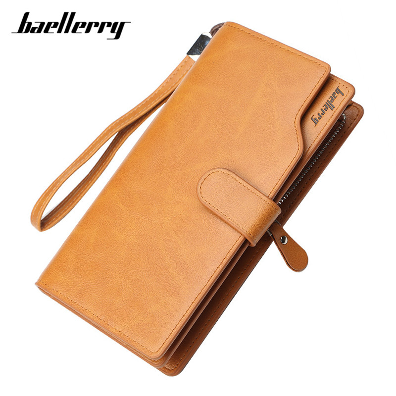 Baellerry Large Capacity Wristband Men Wallets Card Holder Purse Brown PU Leather Business Clutch Phone Bag Long Male Wallet Man baellerry business wallet clutch long men purse hot sale card holder designer hand bags for man handy bags bid162 pm49