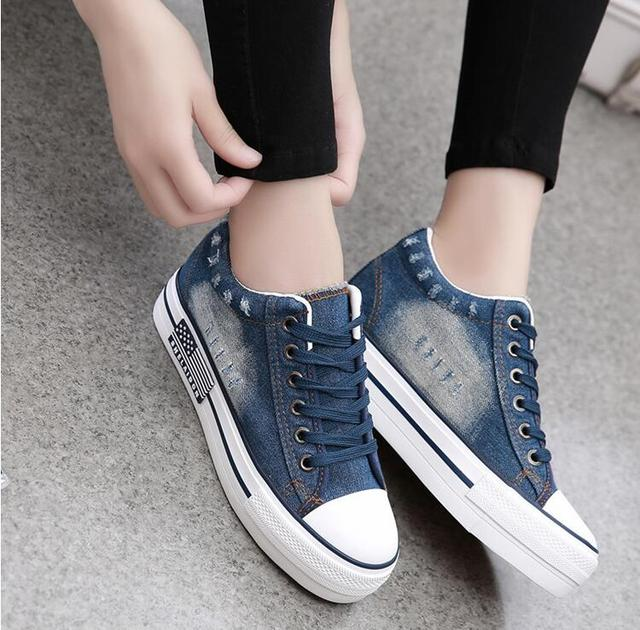 Casual Canvas Shoes Woman Blue Women Shoes 2017 Spring Vintage Water Wash Denim Shoes Lady Lace Up Shoes Flats Chaussure Femmes