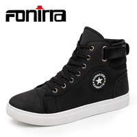 FONIRRA Fashion Men's High top Canvas Shoes Hot Sales Footwear Men's Casual Shoes Black Breathable Lace up Shoes Men Flats 939